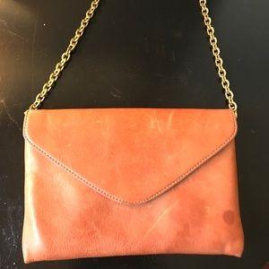 J Crew leather gold chain purse/clutch